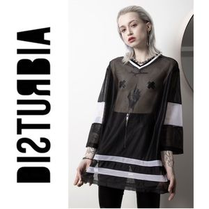 Disturbia Mesh Hockey Style Jersey 3/4 Sleeve
